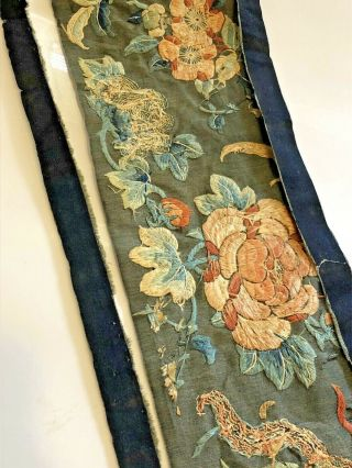 Antique Chinese Silk Embroidered Fabric Panel Wall Hanging Tassel 1850 5