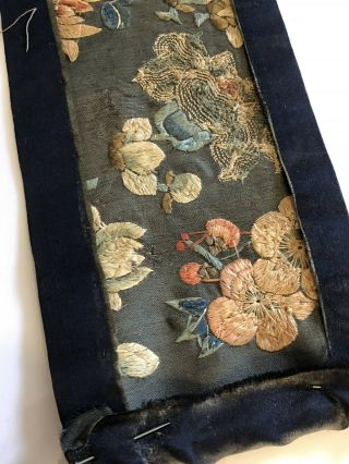 Antique Chinese Silk Embroidered Fabric Panel Wall Hanging Tassel 1850 8