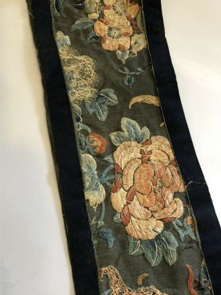 Antique Chinese Silk Embroidered Fabric Panel Wall Hanging Tassel 1850 9