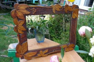 Antique Black Forest Carved Maple Mirror Bevel Glass Arts And Crafts Rustic Chic