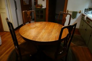 Antique Oak Pedestal Dining Table And B.  Altman Rushed Dining Chairs