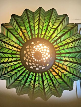 Antique 1910 Arts & Crafts green &yellow stained glass spider web lamp iron base 2