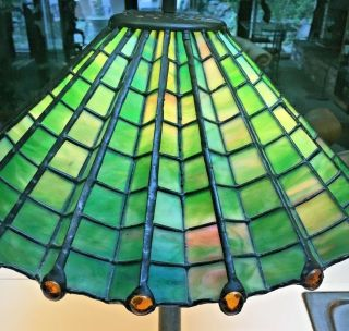 Antique 1910 Arts & Crafts green &yellow stained glass spider web lamp iron base 3