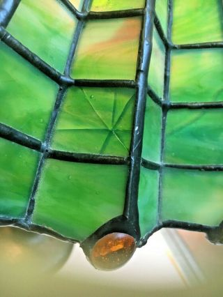 Antique 1910 Arts & Crafts green &yellow stained glass spider web lamp iron base 4