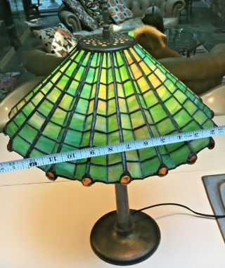 Antique 1910 Arts & Crafts green &yellow stained glass spider web lamp iron base 6