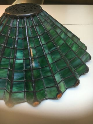 Antique 1910 Arts & Crafts green &yellow stained glass spider web lamp iron base 8