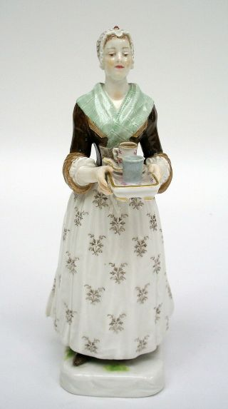 MEISSEN PORCELAIN FIGURE OF THE CHOCOLATE GIRL BY LIOTARD (HELMIG DESIGN c.  1901) 2