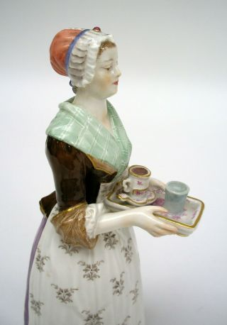 MEISSEN PORCELAIN FIGURE OF THE CHOCOLATE GIRL BY LIOTARD (HELMIG DESIGN c.  1901) 6