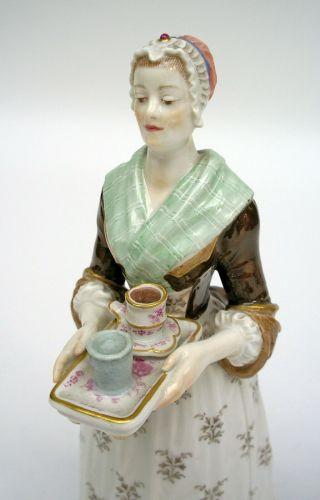 MEISSEN PORCELAIN FIGURE OF THE CHOCOLATE GIRL BY LIOTARD (HELMIG DESIGN c.  1901) 7