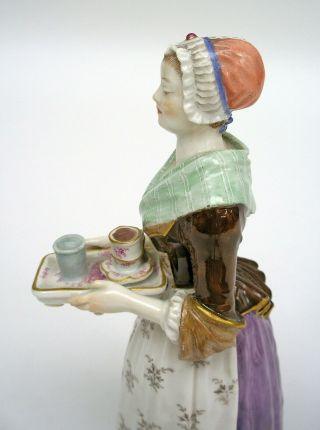 MEISSEN PORCELAIN FIGURE OF THE CHOCOLATE GIRL BY LIOTARD (HELMIG DESIGN c.  1901) 8