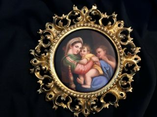 Antique Hand Painted Porcelain Plaque After Rafael Gilded Italian Frame