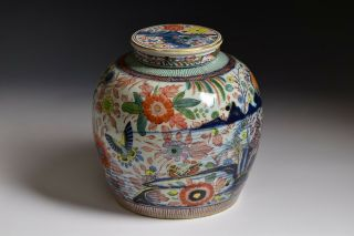 17th / 18th Century Chinese Transitional Period Clobbered Covered Ginger Jar