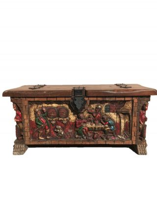 Colorful Vintage Spanish Trunk Or Chest,  Pine,  Circa 1950 - 60