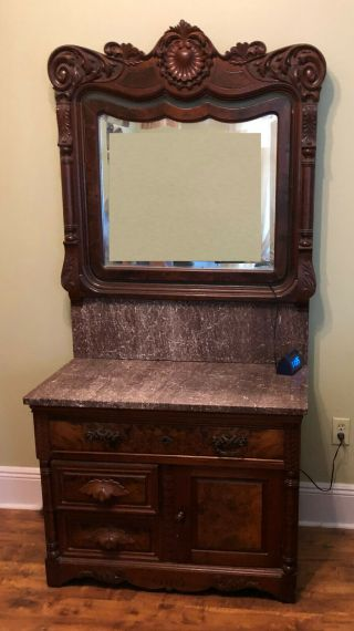 Ch032: American Marble Top W/ Wood Work Washstand W/ Mirror Local Pickup