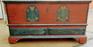 Wonderful 1790 - 1820 Pa Decorated Blanket Chest - Best Must Have