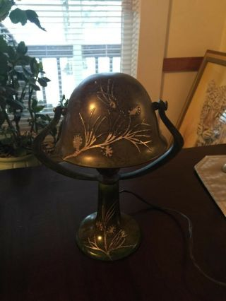 Heintz Bronze Silver Overlay Arts & Crafts Table Lamp