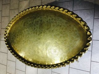 Vintage Moroccan Brass Coffee Table With Wooden Base