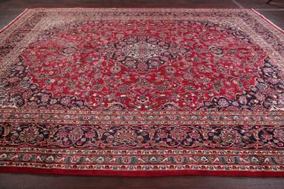 Vintage 9x12 Traditional Floral Red Oriental Area Rug Hand - Knotted Wool Carpet