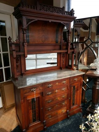 Antique Victorian Walnut Buffet/ Sideboard With Marble Top
