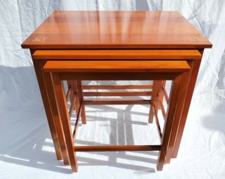 Three Harvey Ellis Stickley Nested Cherry Tables With Inlays
