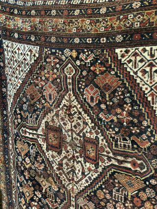 Auth: 19th C Migratory Tribal Collectors Pc Organic Qashqaei Khamsey Wool Nr