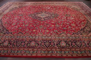 10x13 Semi - Antique Traditional Floral Oriental Area Rug Red Hand - Knotted Wool