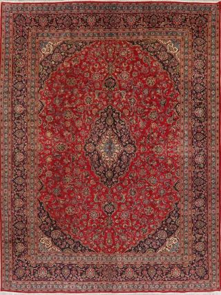 10x13 SEMI - ANTIQUE TRADITIONAL FLORAL ORIENTAL AREA RUG RED HAND - KNOTTED WOOL 2