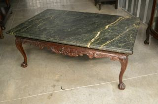 Indonesian Green Marble Top Coffee Table with Ball and Claw Feet 2