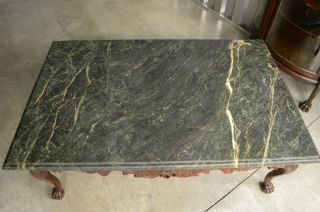 Indonesian Green Marble Top Coffee Table with Ball and Claw Feet 3