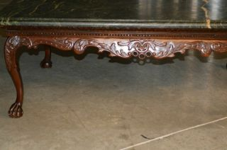 Indonesian Green Marble Top Coffee Table with Ball and Claw Feet 5