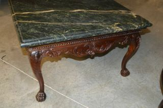Indonesian Green Marble Top Coffee Table with Ball and Claw Feet 6
