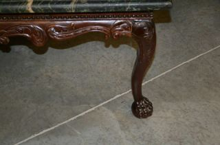 Indonesian Green Marble Top Coffee Table with Ball and Claw Feet 7