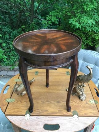 "Burl Walnut Side Table Small Round Carved Legs.  Table.  21 1/2"" X 15"" Dia"