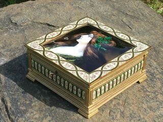Exquisite French Victorian Christmas Keepsake Bronze Enamel Lock Box Antique Old