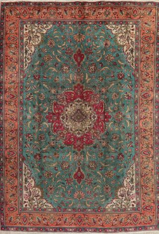 Traditional Floral Area Rug Wool Oriental Handmade Old Carpet 8 X 11 Green Rug
