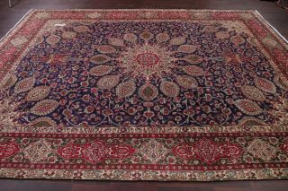 Antique Medallion Navy Blue Red Oriental Area Rug Floral Hand - Knotted Wool 10x13