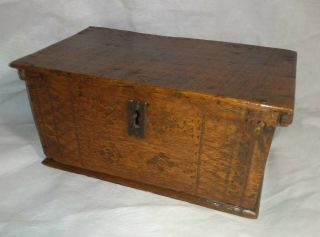 Fine Mid 17th Century Carved Oak Candle Box Casket C1650