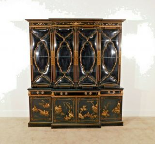 Karges Black Chinoiserie Hand Decorated 2 Piece Glass Breakfront China Cabinet