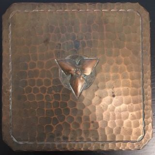 Antique Signed Roycroft Small Hammered Copper Box -
