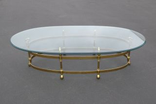 Vintage French Provincial Brass & Swan Oval Cocktail Coffee Table Beveled Glass