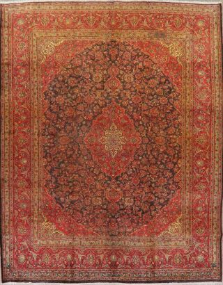 Antique 9x12 Traditional Floral Oriental Area Rug Hand - Knotted Navy Blue Ruby