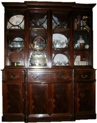 Vintage Two - Piece 1940s Mahogany Breakfront With Writing Desk,  Bubble Glass