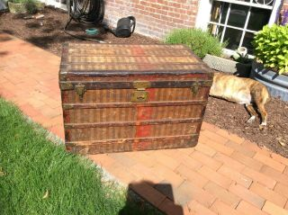 Early Antique Louis Vuitton Steamer Trunk Rayee Coffee Table Size 19th C