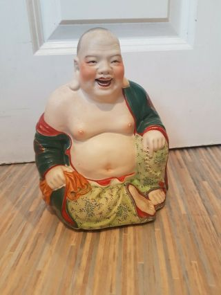 Vintage Chinese Porcelain Figure: Laughing Buddha : 20cm/8inch High