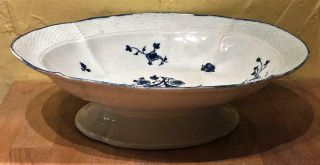 """Antique Dr.  Wall Worcester """" Gilliflower """" Pattern Large 12 """" L.  Footed Compote"""