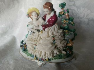Extremely Rare Large Unterweissbach Man & Women Lace Figurine