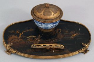 19thc Antique French Chinoiserie Coromandel Lacquer & Gilt Bronze Inkwell