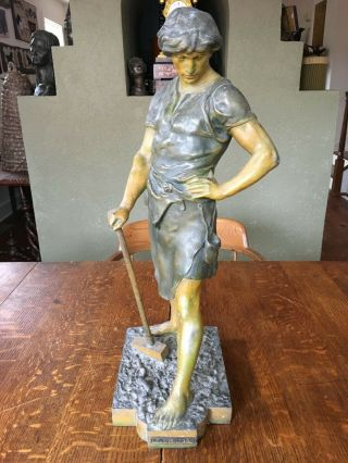 "Antique C1890 Bronzed - Spelter Statue "" Le Forgeron "" 21 1/2 "" Tall & 21 Pounds"
