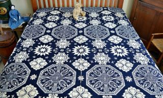 Antique 19th c Jacquard Coverlet Dated 1845 with Rare Deer & Hunters Border 2