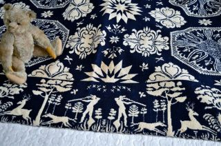 Antique 19th c Jacquard Coverlet Dated 1845 with Rare Deer & Hunters Border 4